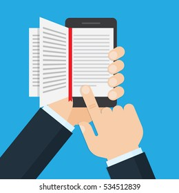 hand holding a mobile phone with an open book on screen, ebook concept. flat design vector illustration