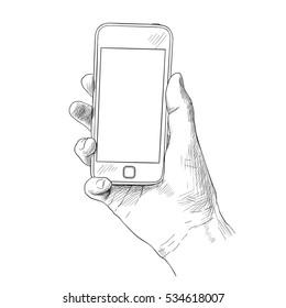 Hand holding mobile phone, sketch vector illustration