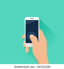 Hand holding mobile phone with turquoise background. Flat design style