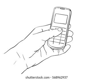 Hand holding mobile phone, Vector sketch, Hand drawn illustration isolated on white