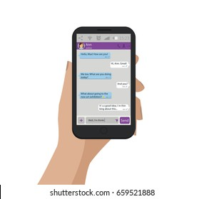 Hand holding mobile phone. Vector illustration. Chat concept.