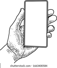 A hand holding a mobile phone in a vintage old woodcut etching style
