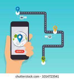 Hand holding mobile smart phone app with track displayed. Navigation concept. Flat design modern vector illustration concept.