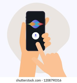 Hand holding mobile smart phone with digital voice assistant. Flat design modern vector illustration concept.