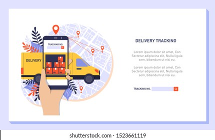 Hand holding mobile smart phone with app delivery tracking. Vector modern flat creative info graphics design on application