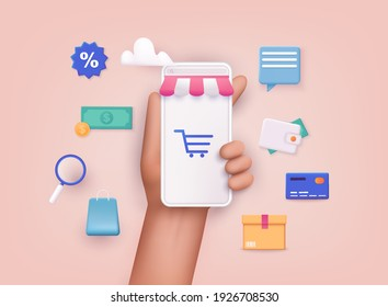 Hand holding mobile smart phone with shopp app. Online shopping concept. 3D Web Vector Illustrations. - Shutterstock ID 1926708530
