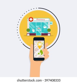Hand holding mobile smart phone with application search pharmacy. Find closest on city map. Flat design style modern vector illustration concept.