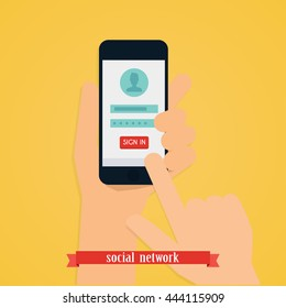 Hand holding mobile smart phone with app. Login form on gadget screen illustration concept. Vector modern flat creative info graphics design.