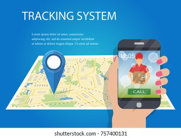 Hand holding mobile smart phone with app delivery tracking. Vector. Package tracking. Order tracking app concept.