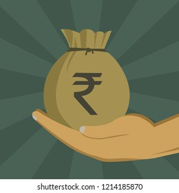 Hand holding a money bag with Indian Rupee