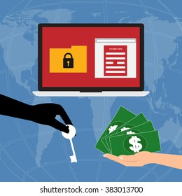 Hand holding money banknote for pay the key unlock data got ransomware malware virus computer form hacker on internet . Vector illustration business technology data privacy and security concept.