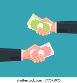 Hand holding the money. Concept of currency exchange. Vector illustration.