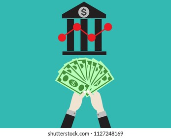 Hand holding money for deposit with bank icon concept vector illustration