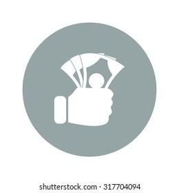 hand holding money icon. Flat design style eps 10
