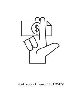 Hand holding money icon in thin outline style. Service tip hotel waitress restaurant bribe gratification