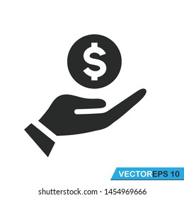 hand holding money icon vector template