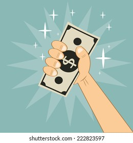hand holding money. Vector illustration