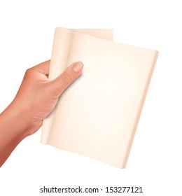 Hand holding note book on isolate background