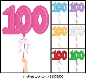"""Hand holding a number 100 shaped balloon for """"100th Birthday"""", isolated on white and in 7 color options each individually grouped and on separate layers."""