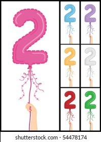 """Hand holding a number 2 shaped balloon for """"2nd Birthday"""" isolated on white and in 7 color options each individually grouped and on separate layers."""