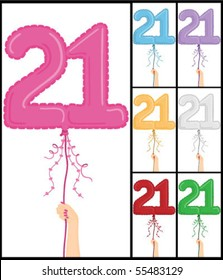 """Hand holding a number 21 shaped balloon for """"21ST Birthday"""", isolated on white and in 7 color options each individually grouped and on separate layers."""