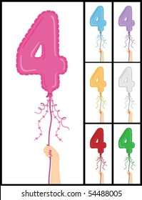 """Hand holding a number 4 shaped balloon for """"4TH Birthday"""", isolated on a white background, in 7 color options each individually grouped and on separate layers."""