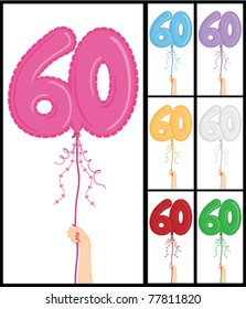 """Hand holding a number 60 shaped balloon for """"60TH Birthday"""", isolated on white and in 7 color options each individually grouped and on separate layers."""