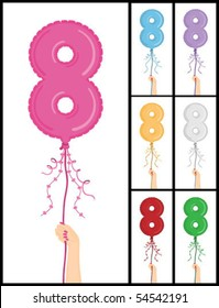 """Hand holding a number 8 shaped balloon for """"8TH Birthday"""" isolated on white and in 7 color options each individually grouped and on separate layers."""