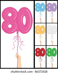 "Hand holding a number 80 shaped balloon for ""80th Birthday"", isolated on white and in 7 color options each individually grouped and on separate layers."