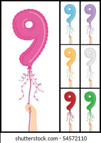 """Hand holding a number 9 shaped balloon for """"9TH Birthday"""" isolated on white and in 7 color options each individually grouped and on separate layers."""