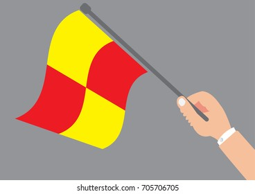 Hand holding the offside flag - Offside of concept design with simple vector