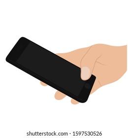 hand holding on handphone . hand, handphone, flat illustration - vector