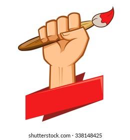 Hand holding a paint brush symbol, vector illustration
