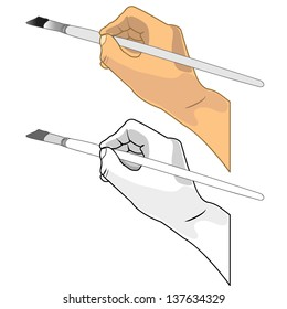 Hand holding a paint brush vector