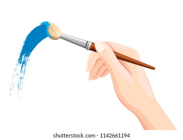 Hand holding paintbrush. Brush painting on white. Blue paint. Vector flat illustration isolated on white background.