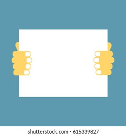 Hand holding paper banner