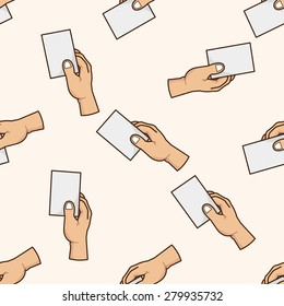 hand holding paper , cartoon seamless pattern background