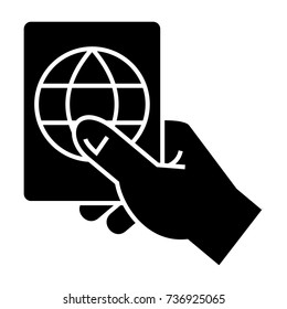 hand holding passport icon, vector illustration, black sign on isolated background