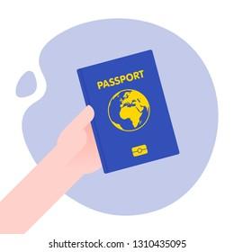 Hand holding passport for international journey. Vector illustration in flat style.