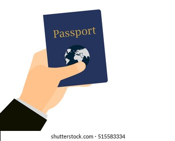 Hand holding a passport on isolated white background. The document for the trip, emigration abroad. Vector illustration.