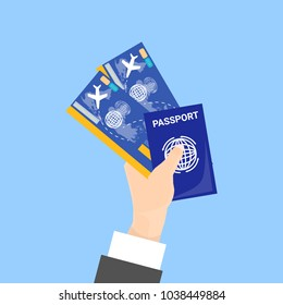 Hand Holding Passport And Tickets Isolated On Blue Background Flat Vector Illustration
