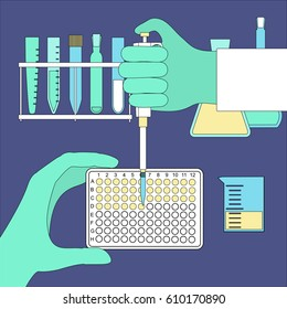 Hand holding pcr plate and using pipette in scientific lab. Stock vector illustration for research, diagnostics, medicine.