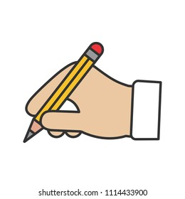 Hand holding pencil color icon. Handwriting. Drawing. Taking notes. Isolated vector illustration