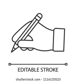 Hand holding pencil linear icon. Thin line illustration. Handwriting. Drawing. Taking notes. Contour symbol. Vector isolated outline drawing. Editable stroke