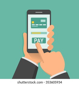 Hand holding phone with app for mobile paying, flat design illustration