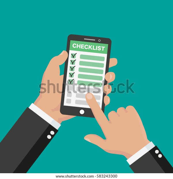 Hand holding the phone with finger pointing at checklist on it. Flat style - stock vector