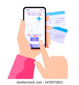 Hand holding phone with flight tickets online booking concept. Buying ticket with smartphone. Booking flights travel. Buy ticket online. Online registration. Vector flat cartoon illustration.