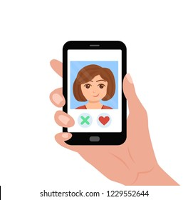 Hand holding phone with girl on the screen. Vector illustration of online dating app sending heart to a woman for love and romantic relationship. Social media and internet cartoon concept design