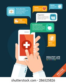 Hand holding a phone with health care app. Vector illustration in flat style