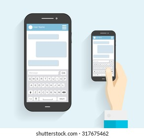 Hand Holding Phone with Keyboard. Phone Message Template. Phone icon. Flat long shadow. vector illustration - stock vector